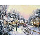 QAZEDC Pintura Digital de Bricolaje Pintura al óleo Impresa de la Lona de la Navidad del Pueblo, Arte Grande de la Lona, Pintura de la Lona del Arte de la pared-50x60cm