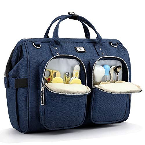 Pomelo Best Wickeltasche mit wasserdicher Wickelunterlage und 2 Kinderwagen Haken verstellbare Schultergurt multifunktionale Umhängetasche Reisetasche für Unterwegs (Dunkelblau)