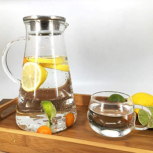 HJYSQX Jarra de agua de vidrio con tapa de acero inoxidable, jarra de agua de vidrio de 2000 ml, resistente al calor, botella de agua para agua, leche, zumo, té helado