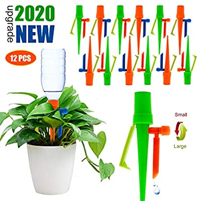 ?2020 NEW? Lengthen Dropper Plant Self Watering Spikes System, Automatic Irrigation Plant Waterer with Slow Release Control Valve Switch, Adjustable Water Volume Drip System for Outdoor Indoor Plants from Ankda