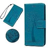 KARELIFE Lederhülle für Samsung Galaxy A21S Hülle Leder, Flip Handyhülle Wallet Hülle PU Tasche Kartensteckplätze, Magnetverschluss, Ständer Schutzhülle für Samsung A21S, Baum & Eule, Blau