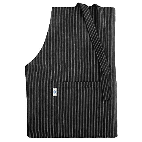 Linen & Cotton Schürze Küchenschürze Kochschürze für Frauen Damen Männer KAMI - 100% Leinen (70x100cm), Streifen Schwarz/Weiß - Latzschürze Backschürze Bistroschürze für Küche Restaurant Café Bistro