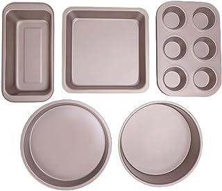 Lot de 5 ustensiles de cuisson antiadhésifs - Moule à pizza, moule à toast, plaque de four et plaque de cuisson carrée - E...