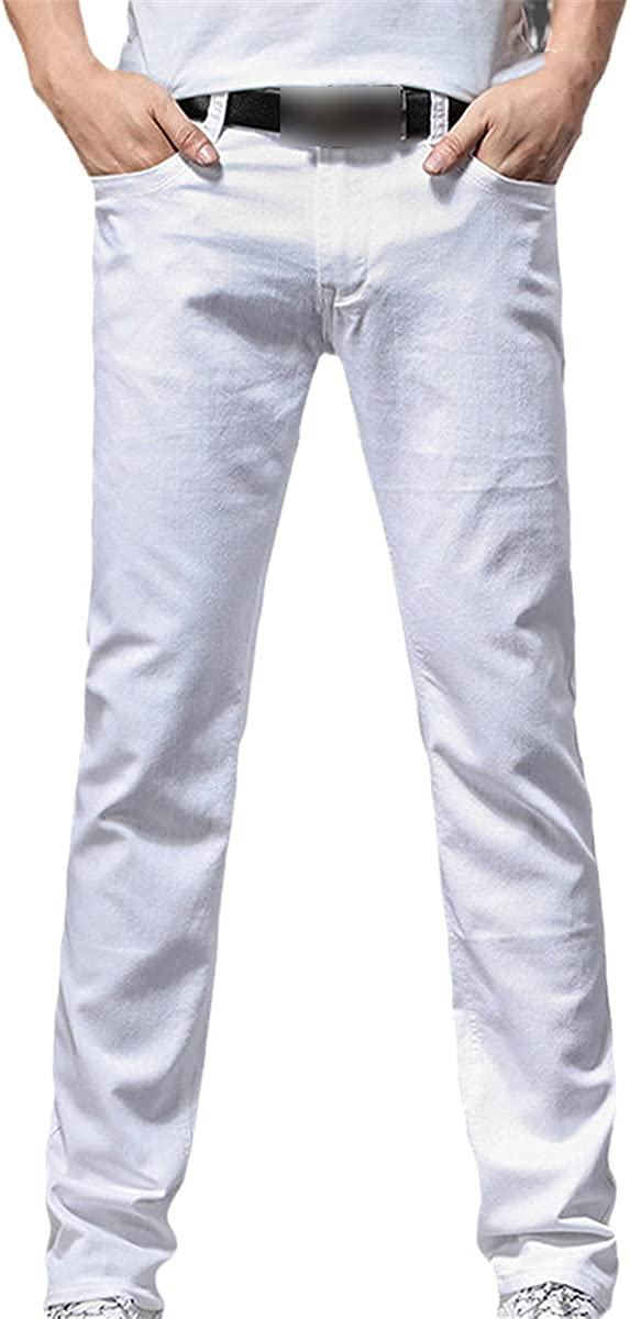 Fall Men's Stretch White Jeans Classic Style Slim Soft Trousers Men's Business Casual Pants