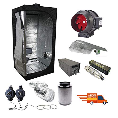 Complete 120 x 120 x 200cm Grow Tent Kit with 4' Twin Speed Fan, Filter & 600w Magnetic MH Grow Light Kit