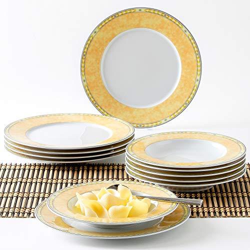 Kahla 45A133M73996A Ghibli Yvonne Gelb Geschirr-Set Porzellanservice weiß gelb Tafelservice Teller für 6 Person 12-teilig Tellerset 6 Suppenteller 6 Speiseteller rund