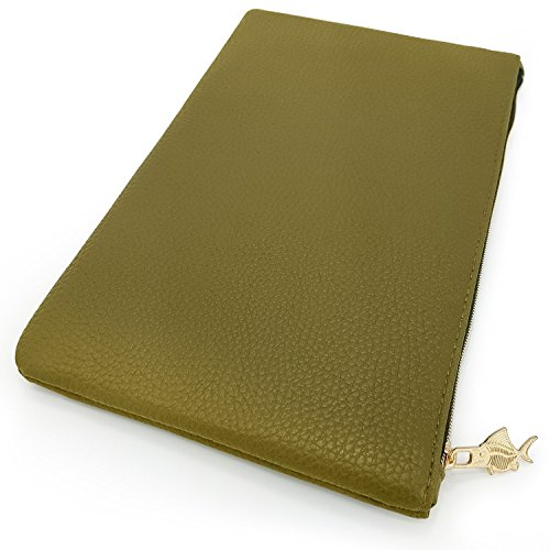 Faux Leather Pencil Case - Leather Look Makeup Bag - Olive Green with Gold Zip - Large