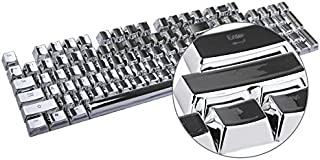 HUO JI E-Element PBT Double Shot Keycap Set - 104 Translucent Backlit Key Cap, Silver Metal Color for All Mechanical Keyboards with Key Puller