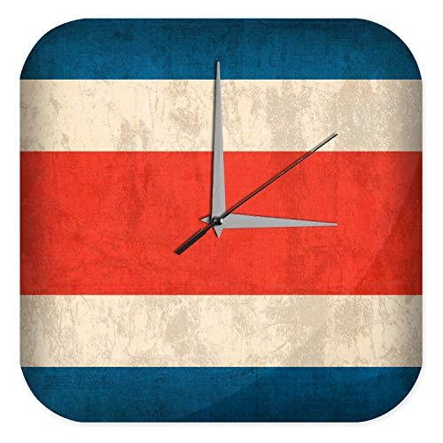Wanduhr mit geräuschlosem Uhrwerk Dekouhr Küchenuhr Baduhr Urlaub Reisebüro Deko Costa Rica Flagge Acryl Uhr Retro