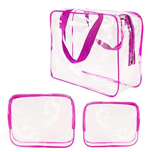 3 Pezzi Sacchetto di Trucco Chiaro Sacchetto Cosmetico Impermeabile Borsa da Spiaggia, Rosa