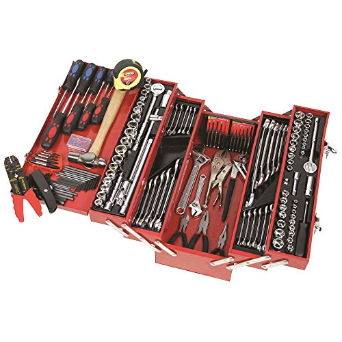 Supatool Tool Set & Cantilever Tool Box - 1/4', 3/8' & 1/2' Drive SAE & Metric Mechanic Tool Kit &...