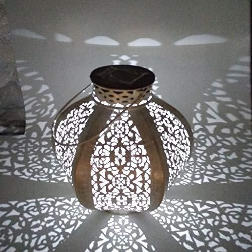 YiPong Linternas solares de Hierro Forjado Lámpara de Mesa Europea de jardín Hueco con Forma de Calabaza de melón portátil, Luces de jardín Luces de Seguridad para Exteriores con Solar con Sensor de