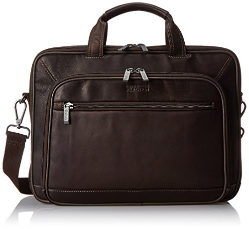 Kenneth Cole Reaction Colombian Leather Dual Compartment Top Zip 16' Laptop Portfolio, Brown