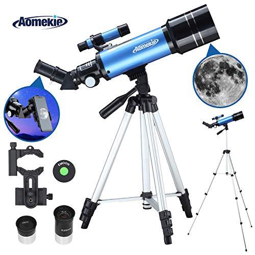 Aomekie Teleskop Astronomie 70/400 Fernrohr Teleskop für Kinder Einsteiger Amateur-Astronomen mit Aluminium Stativ Smartphone Adapter und Mondfilter