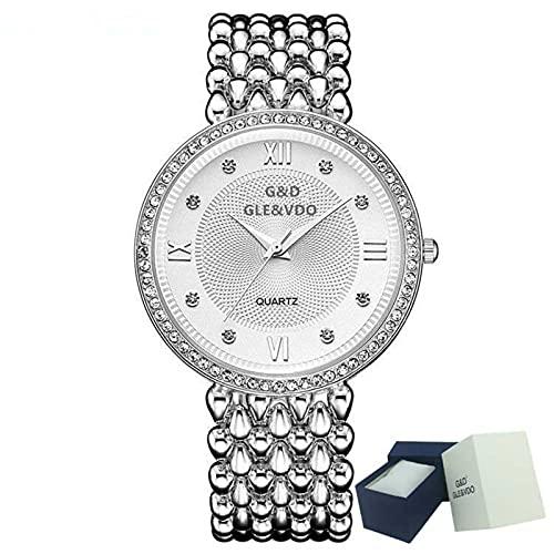 XQKXHZ Reloj para Mujer con Diamantes y Brazalete Metal, Relojes Cuarzo Analógicos de Moda,Cronometraje Preciso, para Reunión Familiar Festival, Plata