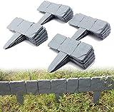 Realmax® Lot de 20 marteaux en plastique effet pavé, pour bordure de pelouse, bordures de jardin, gris foncé
