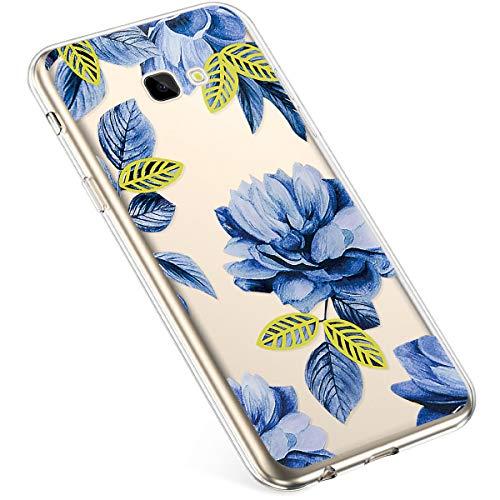 Uposao Kompatibel mit Samsung Galaxy J4 Plus 2018 Hülle Silikon Schutzhülle Bunt Retro Muster Durchsichtig Case Klar Transparent TPU Tasche Handyhülle Anti-Kratzer Stoßfest,Blau Rose Blume