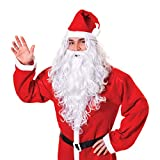 Bristol Novelty BW574 - Parrucca e barba con Babbo Natale, taglia unica, colore: Bianco