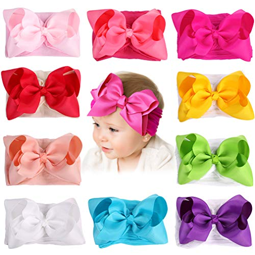 Baby Girl Headbands Newborn Infant Toddler Knotted Hairbands Bows Elastic Soft Floral Hair Band (FREE, 5inch 10pcs)