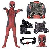 Best Deadpool Costumes - Forcos Kids Superhero Cosplay Costumes Men Boys Lycra Review