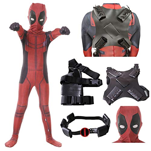 Forcos Kids Superhero Cosplay Costumes Men Boys Lycra Zentai Wade Bodysuit Jumpsuit With Accessories Halloween Costume (Kid-Large (Height 53-57 inch), 5PCS Suit (Clothes+Mask+Holster+Belt+Strap))