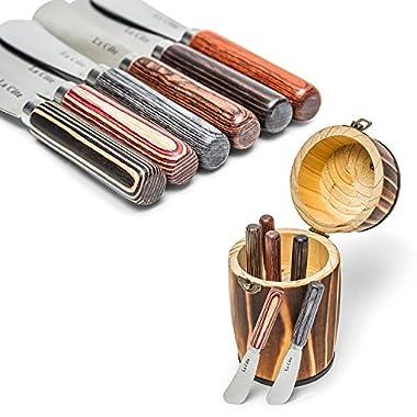 La Cote 6 Piece Cheese Knife Spreader Set Stainless Steel Blade Pakka Wood Handle (5 Inch in Mini Barrel)