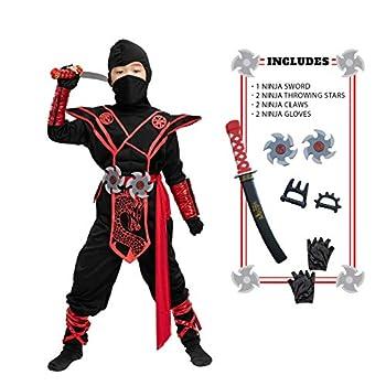 Child Unisex Premium Dragon Red Ninja Costume  Medium  8-10 yr