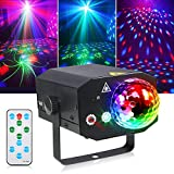 Litake Party Lights + Disco Ball 2 in 1 Dj Disco Stage Lights for Parties LED Projector Strobe Light, Sound Activated with Remote for Party Birthday Wedding Dance Club Show Home Karaoke Decor