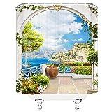ZZYJKSD Natürliche Landschaft Duschvorhänge Europäisches Gebäude Mediterrane Landschaft Blumenpflanze Haus Straße Badezimmer Dekor Stoff Vorhang - 180X200CM