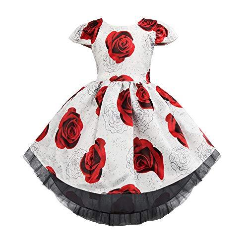 Meisje Bruiloft Bloem Meisje Jurk Rose bloem meisje schoonheid pagina jurk meisje pet mouw elegante prinses feestjurk kinderen kant bruiloft bruidsmeisje jurk hoge en lage vloer lengte prom formele avond dres