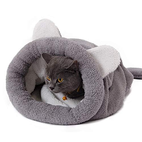 Jbsceen Katzen Schlafsack waschbar bequem Nette Katze schlafende warme Tasche Hundebett Haustie Kissen Katzenbett Kuschelhöhle aus Fleece für Katzen, Kleintiere oder Welpen (50x40cm,Grau)