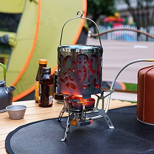 ZHANGLE Kit de Quemador de Estufa de Camping Plegable portátil, Cubierta de Estufa de Mini Calentador de Acero Inoxidable, Caja de Almacenamiento, Calentador de propano de diseño a Prueba de Viento