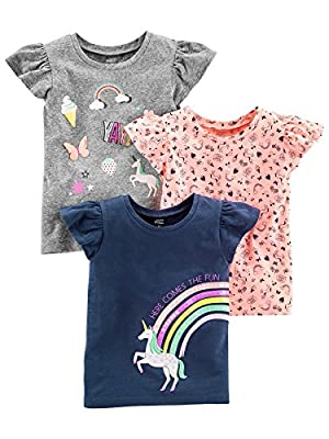 Simple Joys by Carter's Baby Girls' Toddler 3-Pack Graphic Tees, Gray, Pink, Navy Unicorn, 4T
