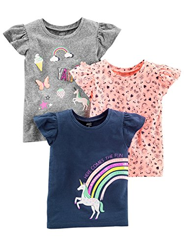 Simple Joys by Carter's - Camisetas gráficas para bebé niña, Color Gris, Rosa, Azul Marino, 2T