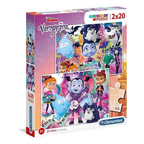 Clementoni- Supercolor Puzzle-Vampirina-2 x 20 Pezzi-Disney, Multicolore, 07033