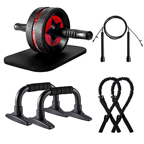 KUYOU Bauchroller AB Roller Wheel Bauchtrainer für das Kerntraining, Ab Roller Kits mit Widerstandsbändern, Kniematte, Springseil, Push-Up-Stange für das Heim-Fitnessstudio für Ab Workout-Ausrüstung