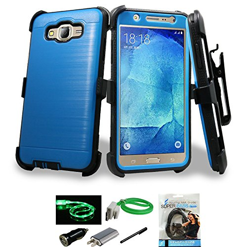 Samsung Galaxy J7 2016 Case, Mstechcorp Heavy Duty Full-Body Rugged Holster Armor [Brushed Metal Texture] Case [Belt Clip][Kickstand] for Galaxy J7 SM-J7008 with Accessories (Blue)