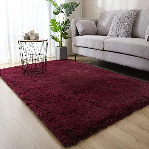 aasdf Teppiche für das Wohnzimmer, Fluffy Shaggy Super Soft Carpet, Schlafzimmer Teppich Kindermatte, Bodenmatte Pelz Plüschteppich für Wohnkultur (Rotwein, 160 x 230 cm)