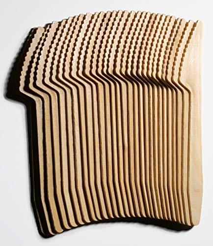 Lepajo 100 Cuchillos de Madera de Abedul 100 Cuchillos Desechables – biodegradables – para Fiestas, Picnic, Tartas, postres, cumpleaños, BBQ, Cubiertos Desechables Aprox. 16,5 cm.