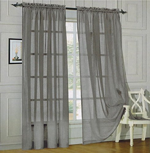 "Luxury Discounts 2 Piece Solid Grey/Gray Elegant Sheer Curtains Fully Stitched Panels Window Treatment Drape 60"" X 84"""