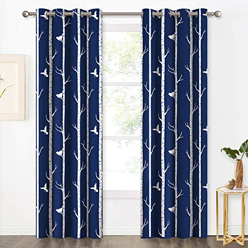 KGORGE Country Curtains for Living Room - Two-Tone Birds & Tree Pattern Blackout Window Decor Insulated Room Darkening Draperies for Bedroom Sliding Glass Door, 52 x 84 inch Long, 2 Pcs, Navy Blue