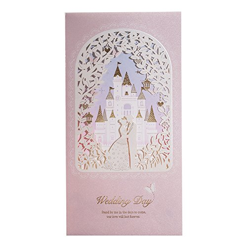 WISHMADE 50 Blush Shimmer Floral Laser Cut Gold Foil Invitations for Wedding, with Princess and Prince Castle Design, Engagement Bridal Shower Invites with Envelopes CW6073
