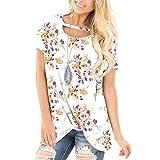FOTBIMK Camisetas de fiesta para mujer, cuello redondo, estampado de manga corta, casual, suelto.