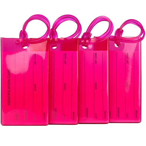 TravelMore 4er-Pack Gepäckanhänger Kofferanhänger mit Adressschild, Silikon-Kofferanhänger Luggage Tag zur Identifizierung von Tasche, Koffer und Gepäck auf Reisen - 4 Stück Bag Tags - Pink