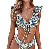 Luckycat Conjunto de Bikini Mujer 2019 Traje de Baño Volantes Correas de Espagueti Bañador Plisado Estampado Cintura Alta Ropa de Playa Tallas Grandes