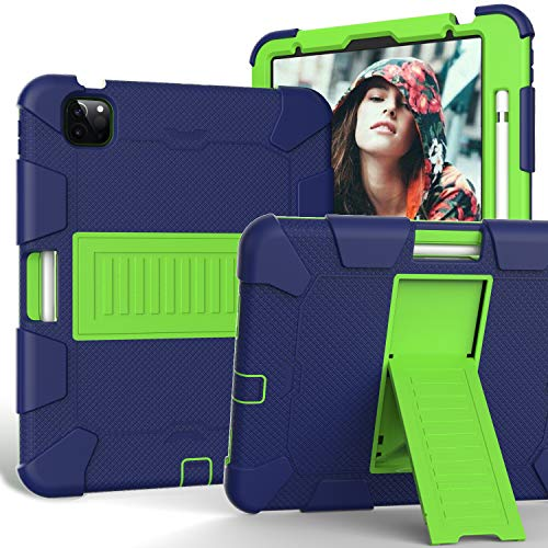 Case for iPad Air 4 10.9 Inch 2020, FSCOVER Shockproof Protective Kid Case with Soft Silicone and Hard PC Rugged Cover/Kickstand/Pencil Holder for iPad Air 4th Generation 2020 Tablet, Navy Green