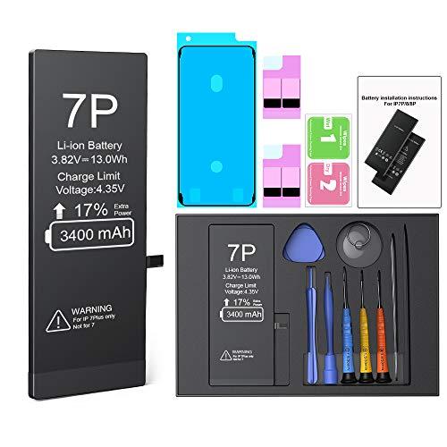 Batteria per iPhone 7 PLUS 3400mah, ButcHer alta capacità 0 cicli Batteria sostitutiva con kit di riparazione completo, compatibile con iPhone 7 PLUS originale (A1661, A1784, A1785)