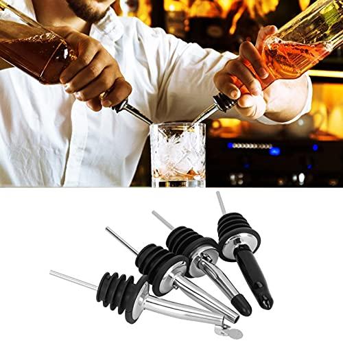 Omabeta Botellas de acero inoxidable para verter 4 unids boca estrecha licor vertedor a prueba de polvo tapas para jarabe para vertedor de alcohol para cocinar en casa