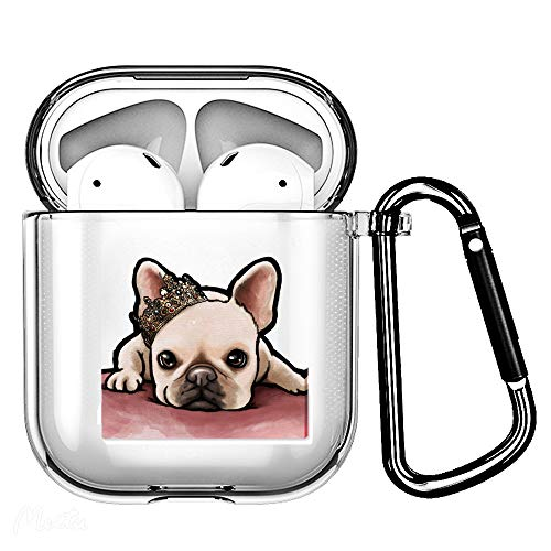 Haiyin French Dog Frenchie Clear Case Cover-Soft TPU Material-Compatible with airpods 2&1, Cute Dog Pet Design Case with Carabiner (Frenchie with Crown)