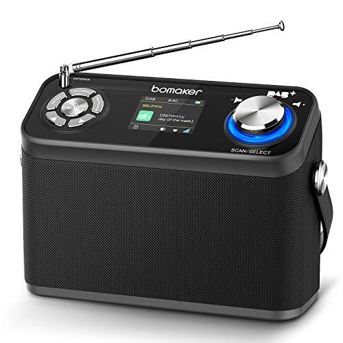 Bomaker DAB/DAB+/FM Radio 40 Presets, tragbares Digitalradio mit Farb-Birdschirm,12 Stunden Spielzeit(mit AUX,USB, Bluetooth und Kopfhöreranschluss für Küche & Schlafzimmer & Garten (schwarz)